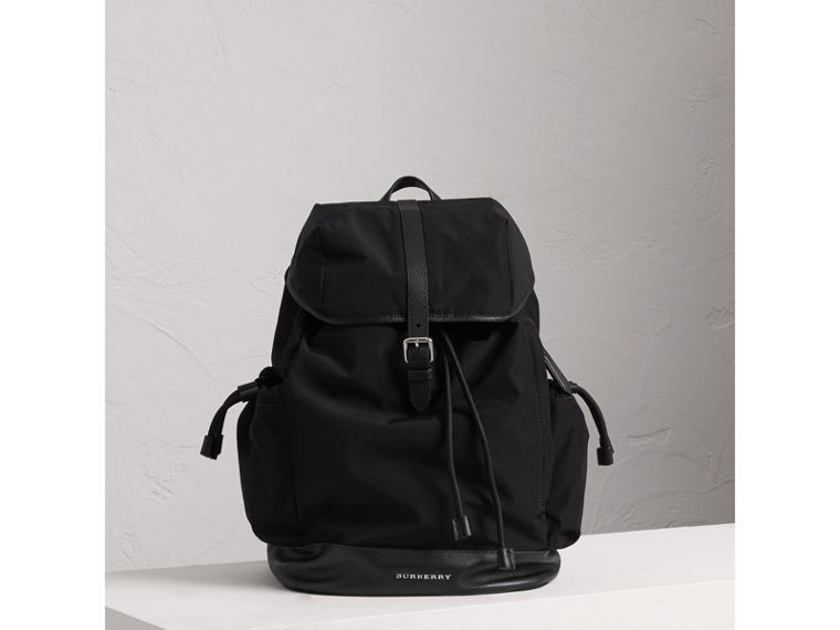 Leather Trim Baby Changing Rucksack in Black | Burberry United States - cell image 4