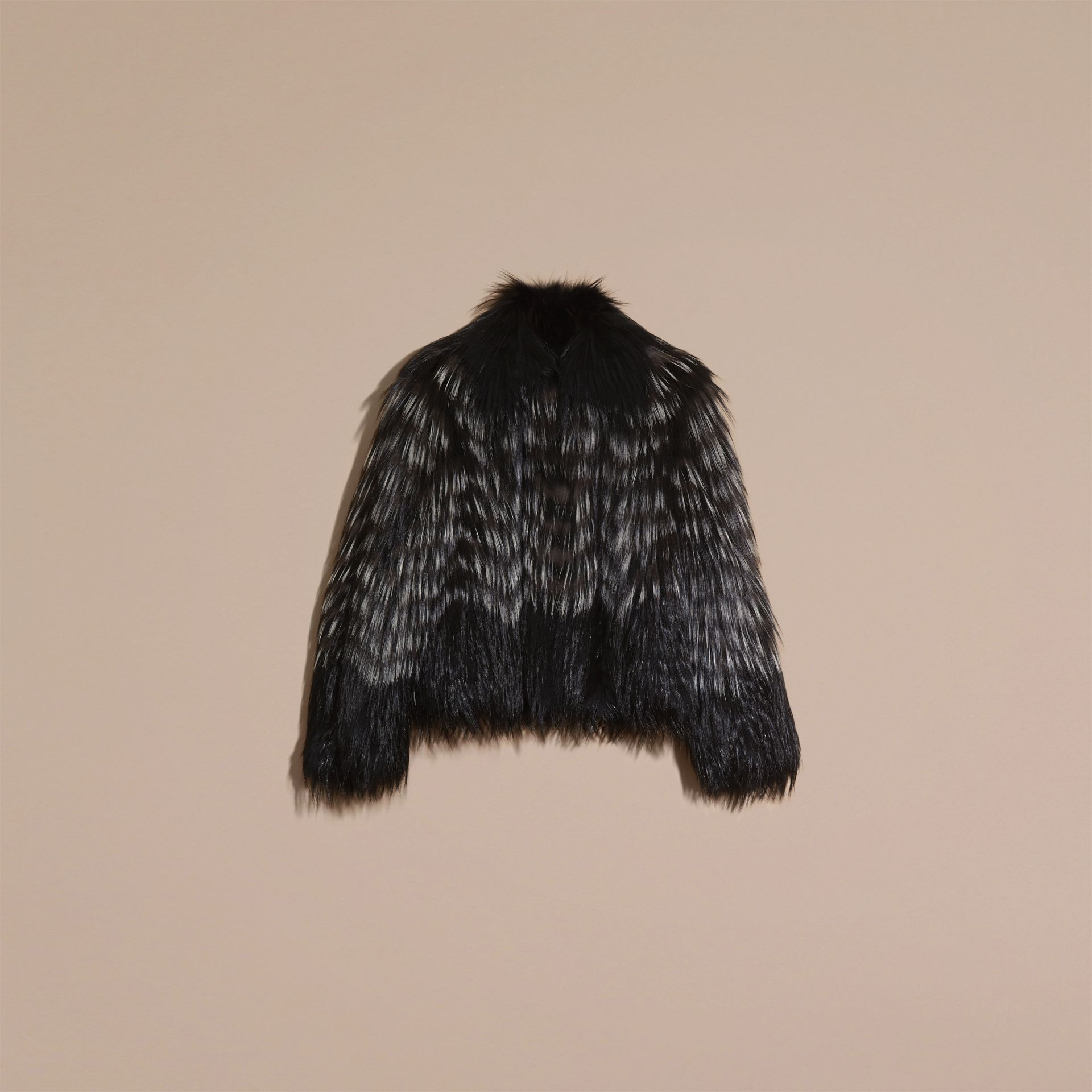 Black/white Chevron Stripe Fox Fur Jacket - gallery image 4