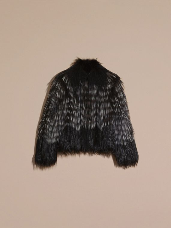 Black/white Chevron Stripe Fox Fur Jacket - cell image 3