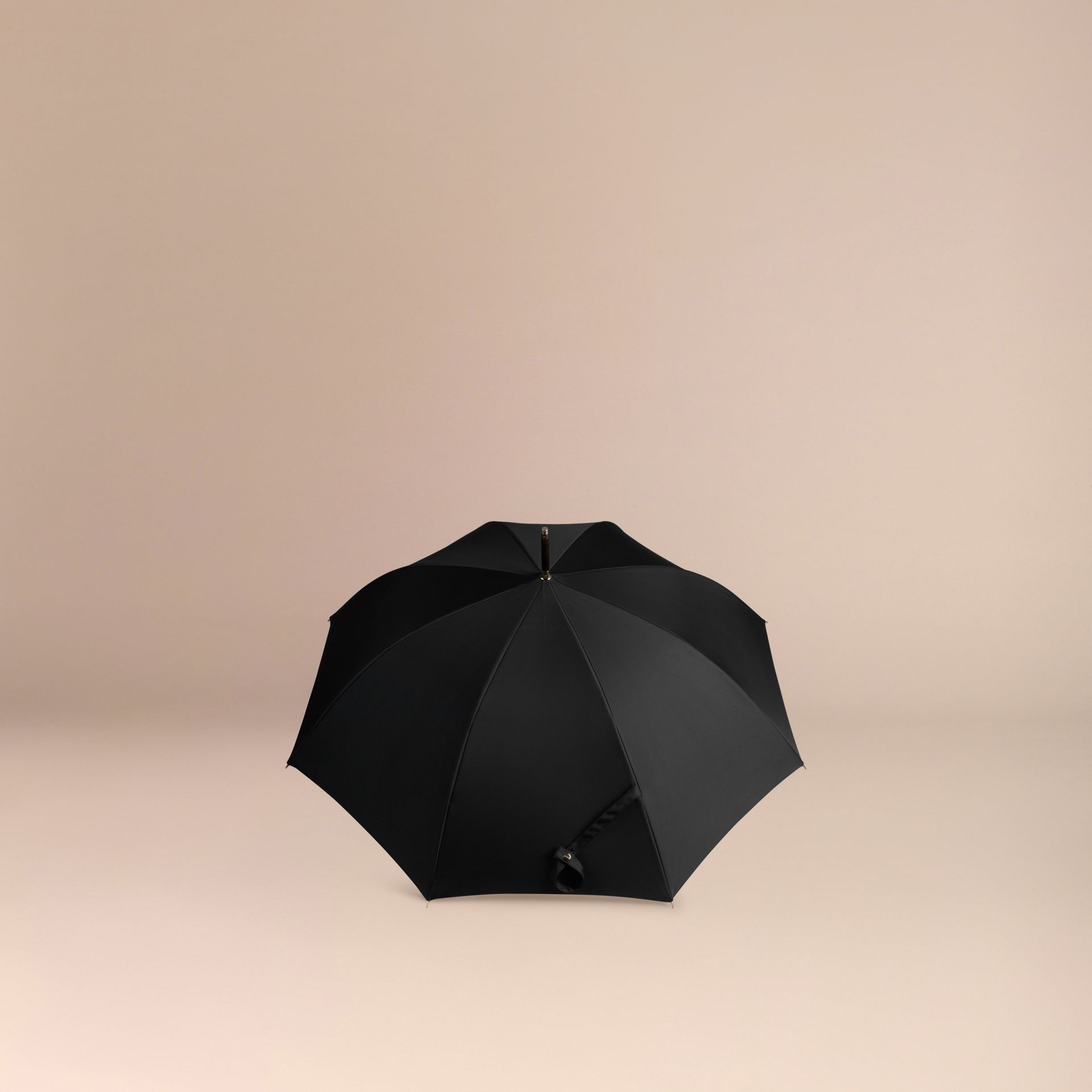 Heritage Check-lined Walking Umbrella in Black/honey | Burberry - gallery image 4
