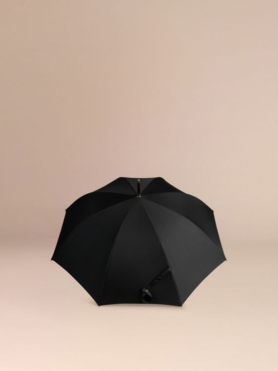 Heritage Check-lined Walking Umbrella in Black/honey | Burberry - cell image 3