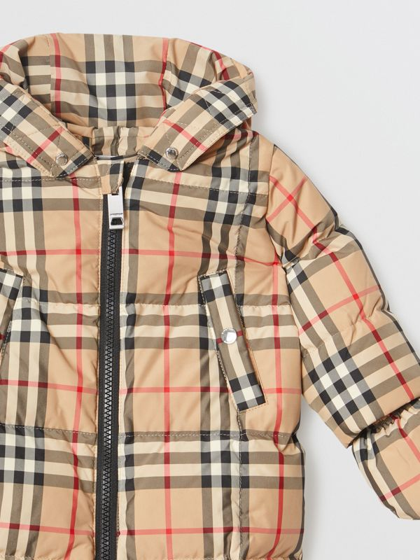 Vintage Check Down-filled Puffer Suit in Archive Beige - Children | Burberry United Kingdom - cell image 3