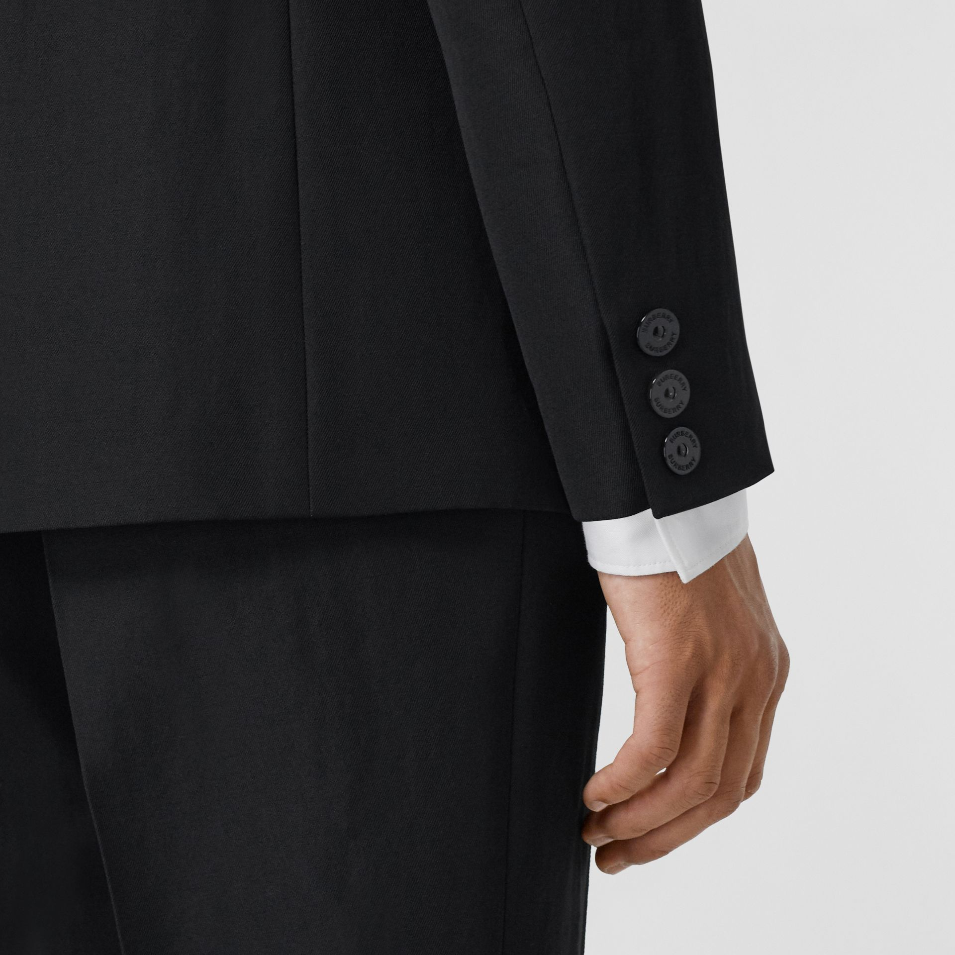 Logo Print Wool Gabardine Tailored Jacket in Black - Men | Burberry - gallery image 5