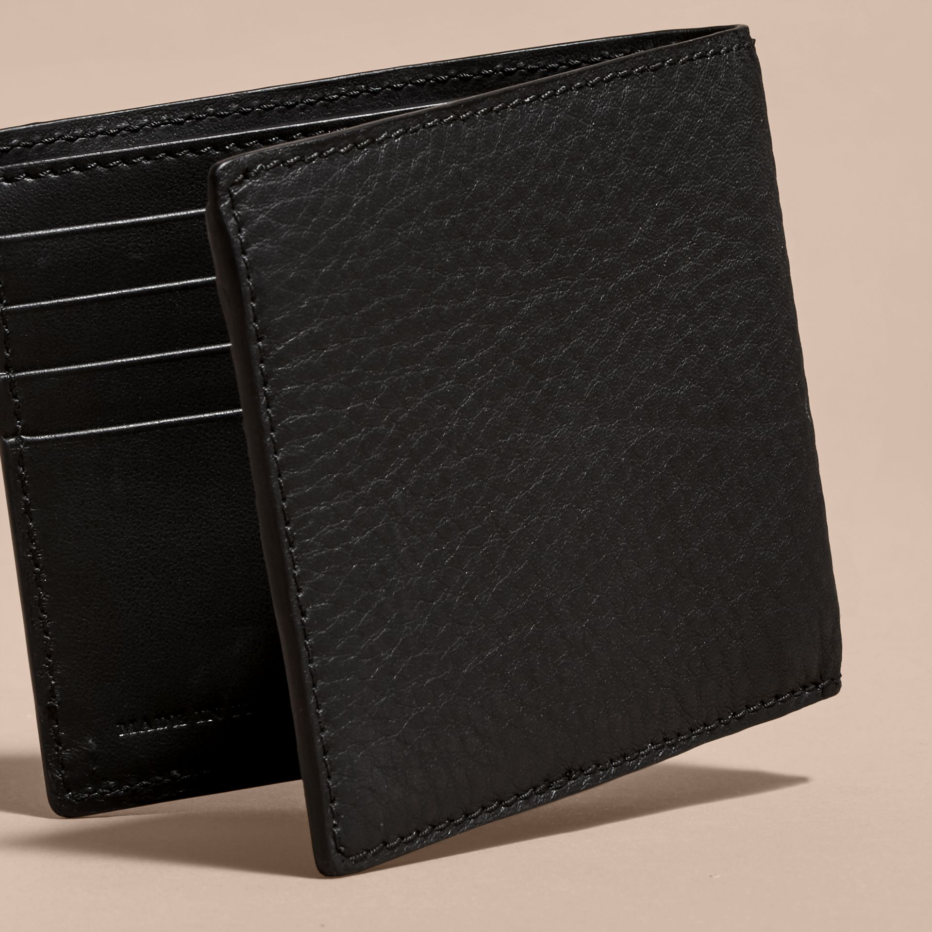 Black Studded Haymarket Check and Leather Folding Wallet - gallery image 4