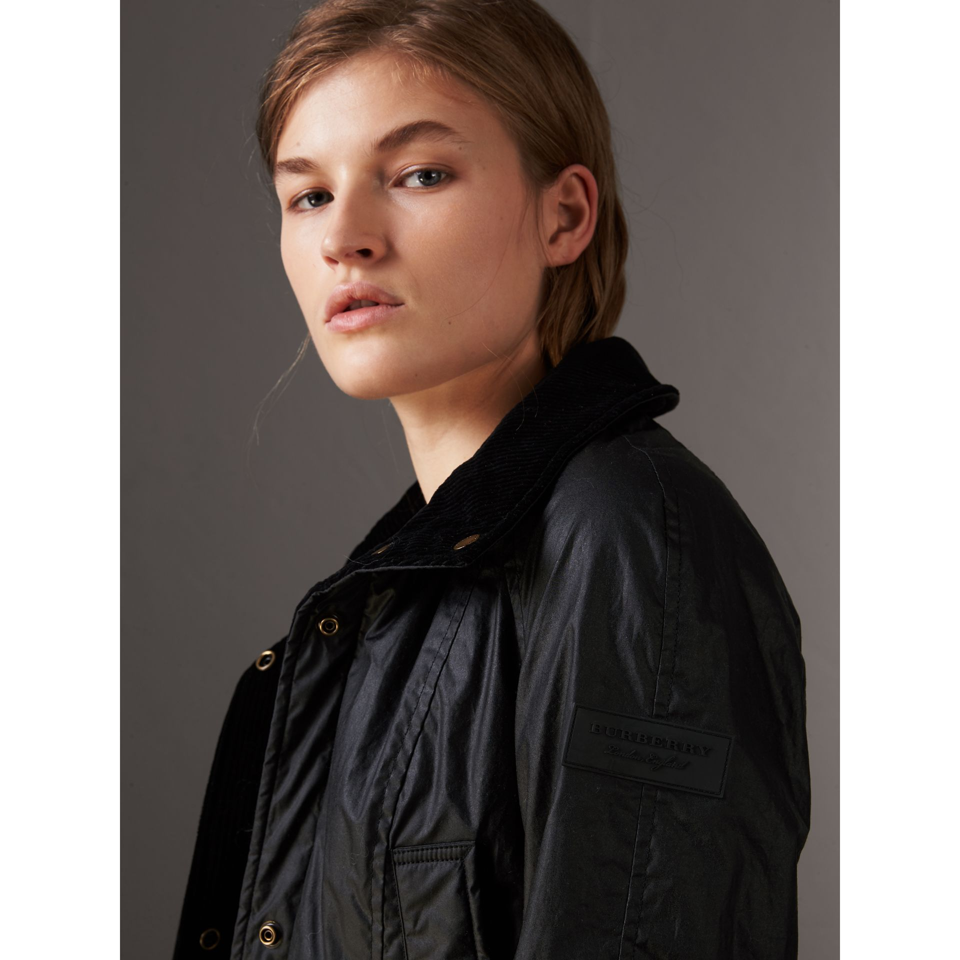 Detachable Hood Waxed Cotton Field Jacket in Black - Women | Burberry United States - gallery image 1