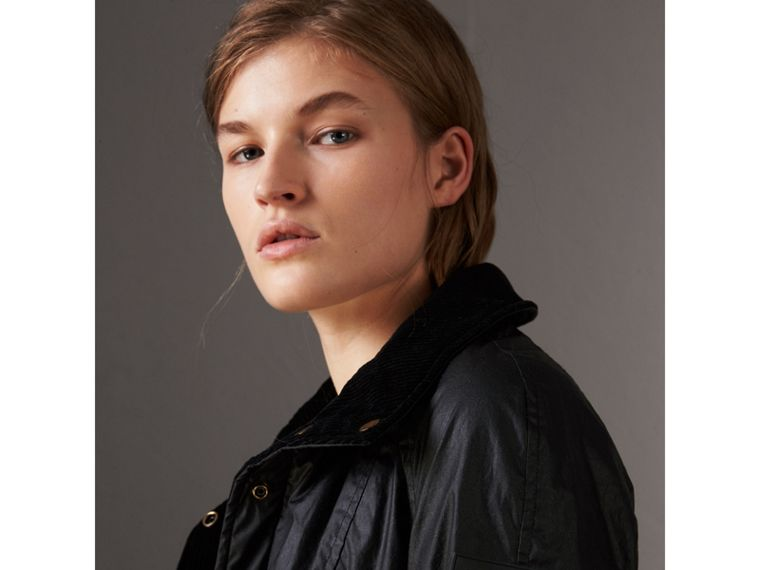 Detachable Hood Waxed Cotton Field Jacket in Black - Women | Burberry United States - cell image 1