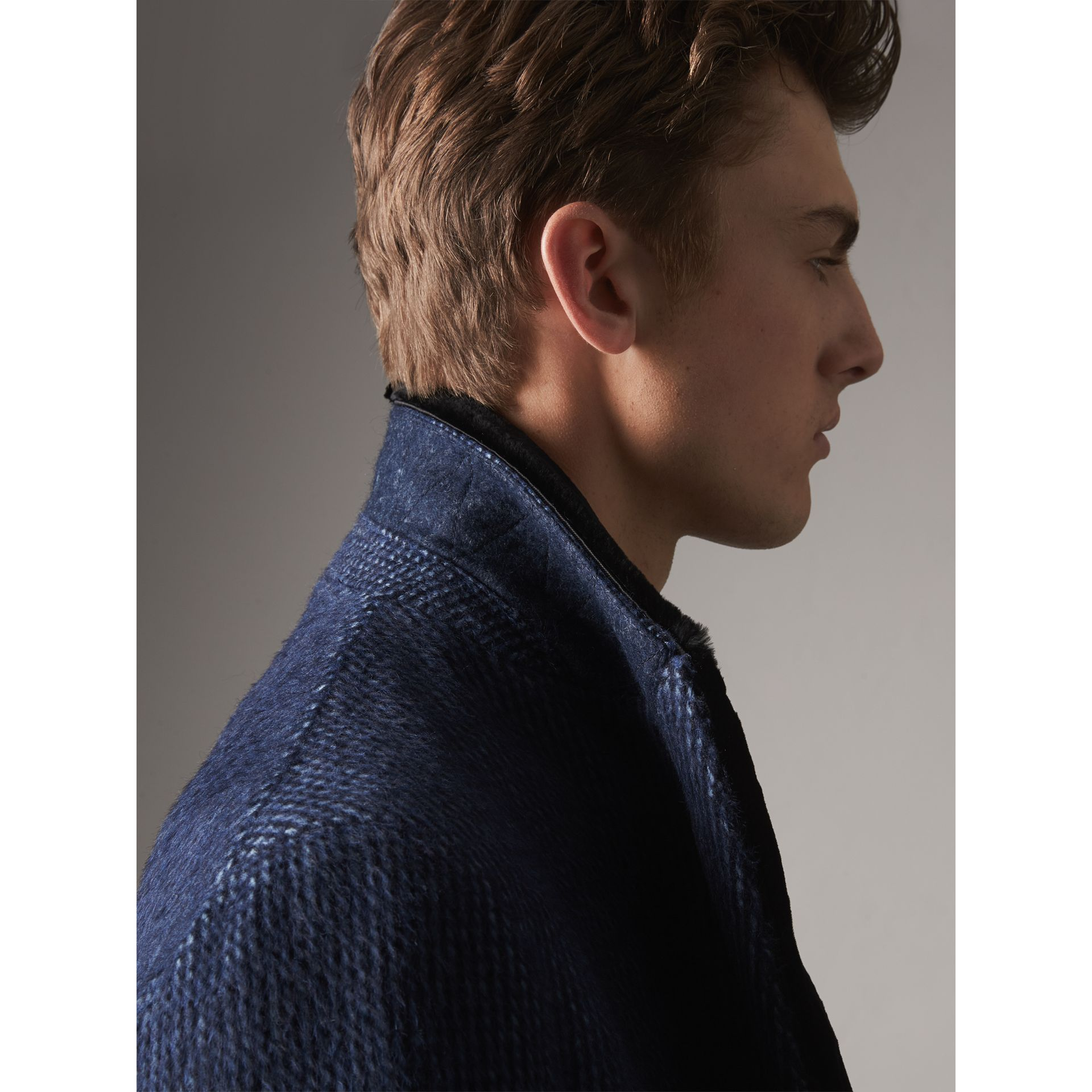 Detachable Fur Collar Alpaca Wool Double-breasted Coat in Pale Sapphire - Men | Burberry United States - gallery image 1