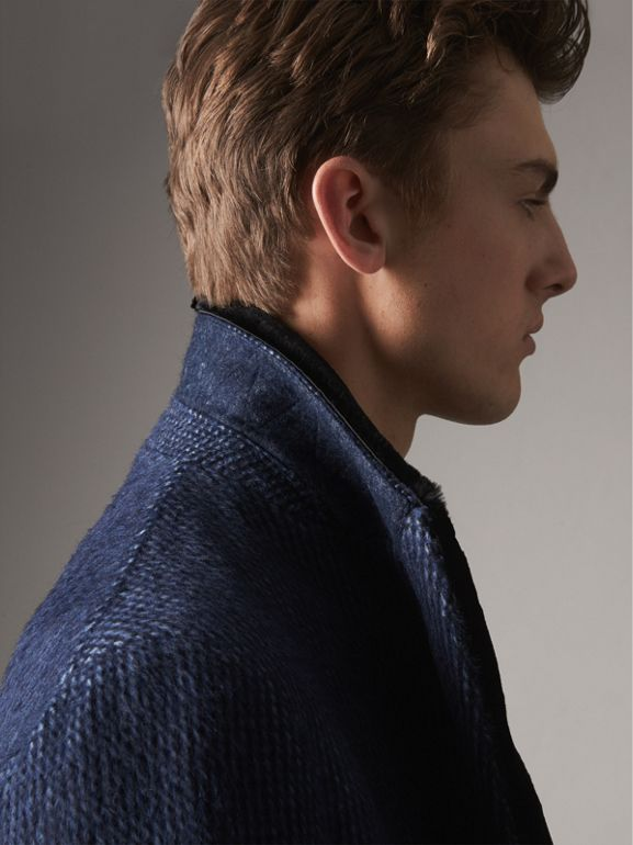 Detachable Fur Collar Alpaca Wool Double-breasted Coat in Pale Sapphire - Men | Burberry - cell image 1