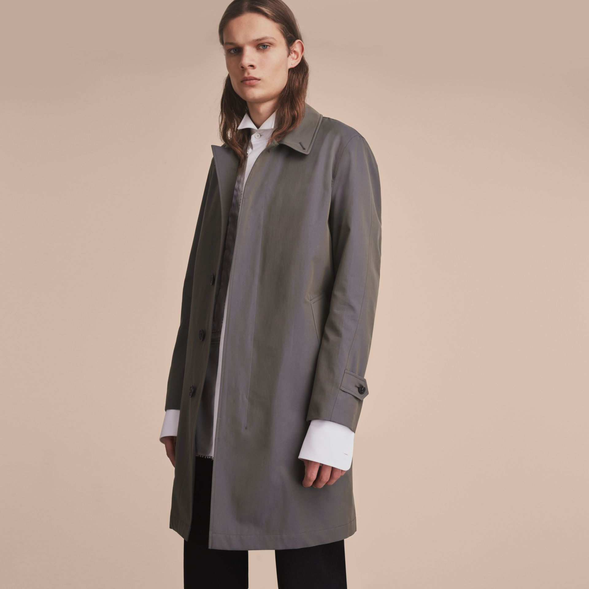Tropical Gabardine Car Coat Storm Blue - gallery image 8