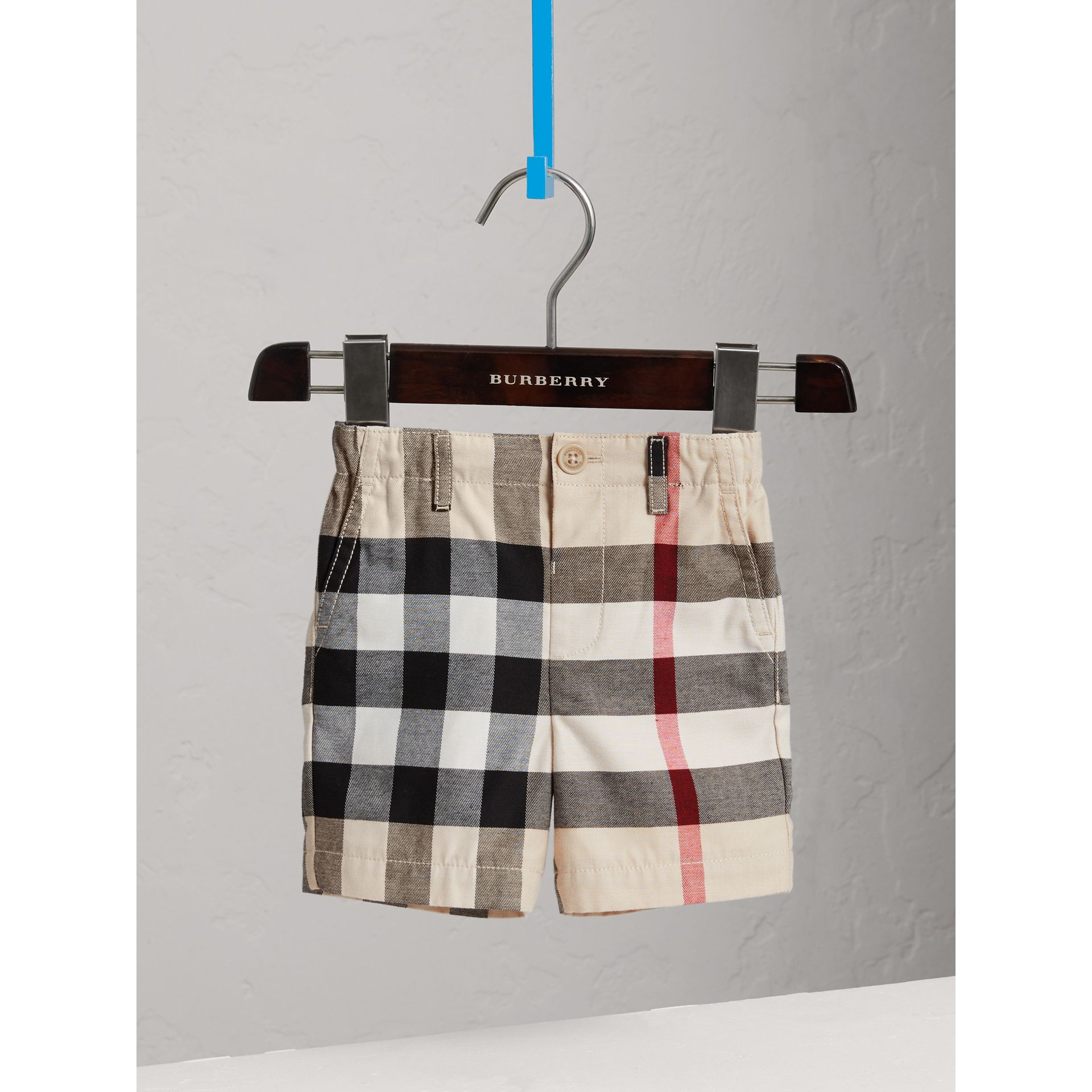 Check Cotton Chino Shorts in Stone | Burberry - gallery image 0