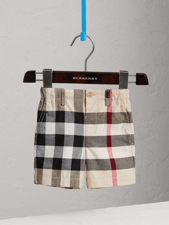 Check Cotton Chino Shorts in Stone