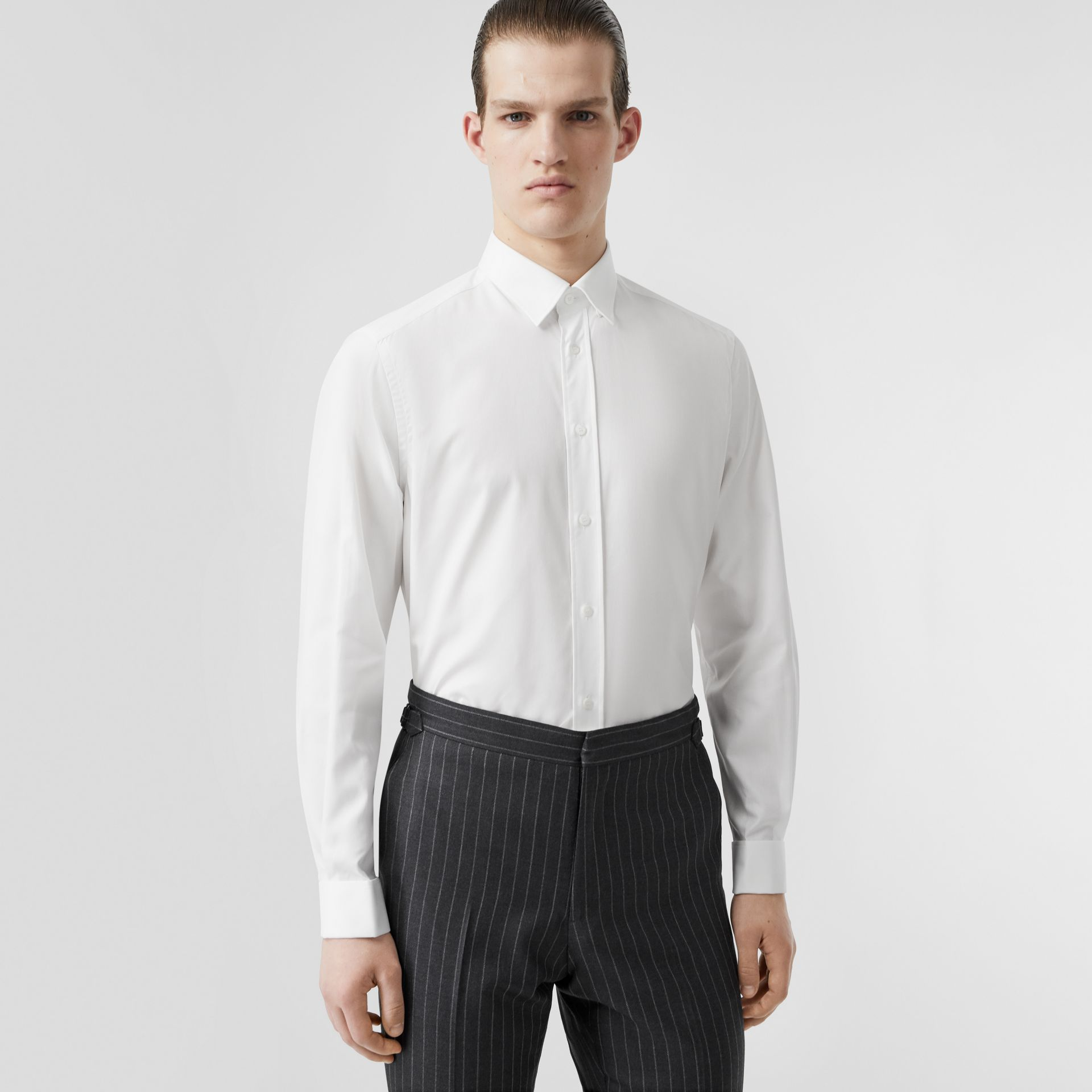 Classic Fit Monogram Motif Cotton Oxford Shirt in White - Men | Burberry Canada - gallery image 0