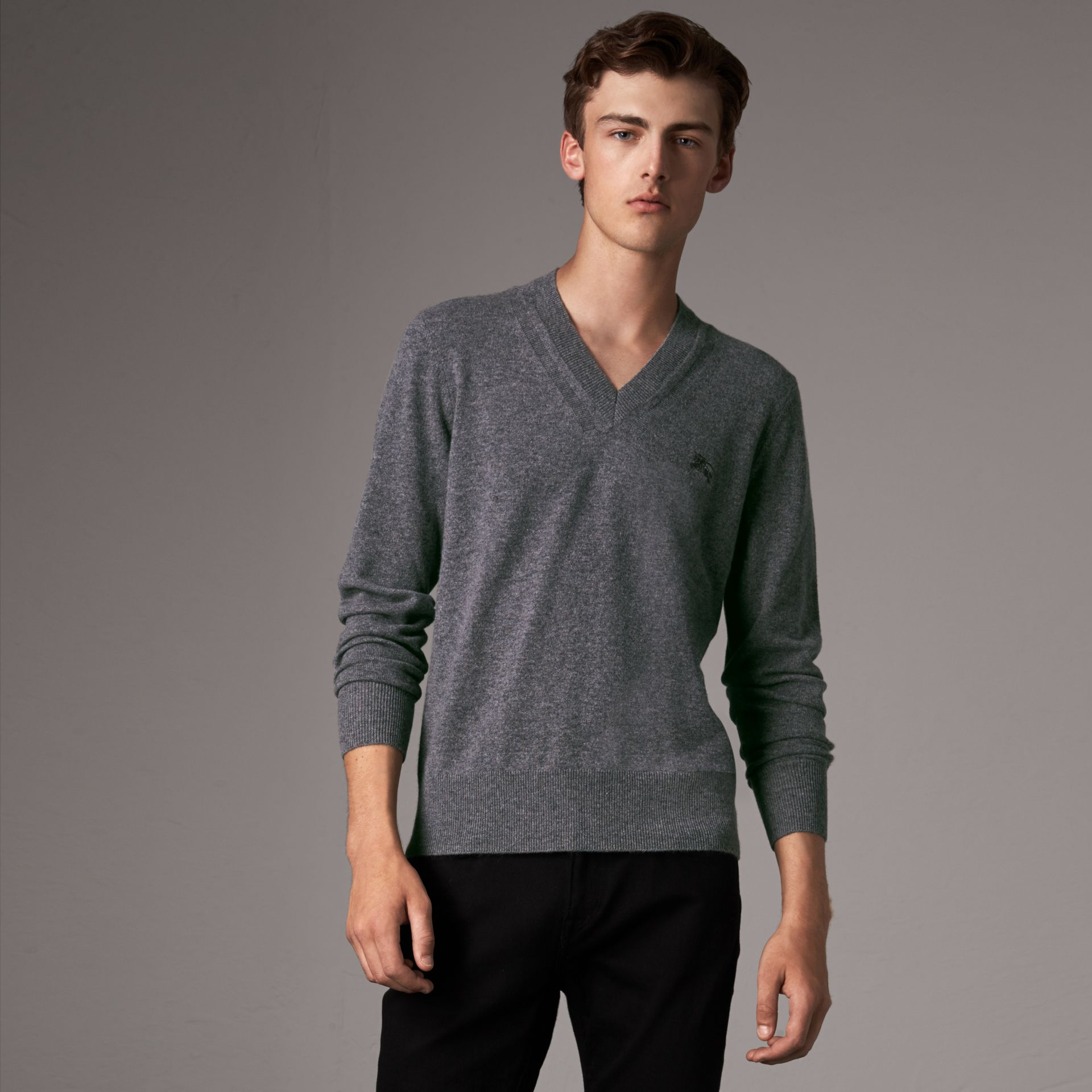 Cashmere V-neck Sweater in Mid Grey Melange - Men | Burberry Singapore - gallery image 0
