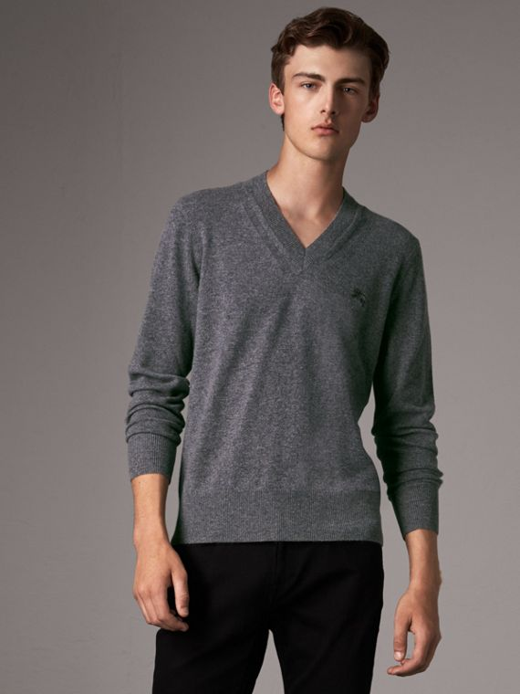 Cashmere V-neck Sweater in Mid Grey Melange