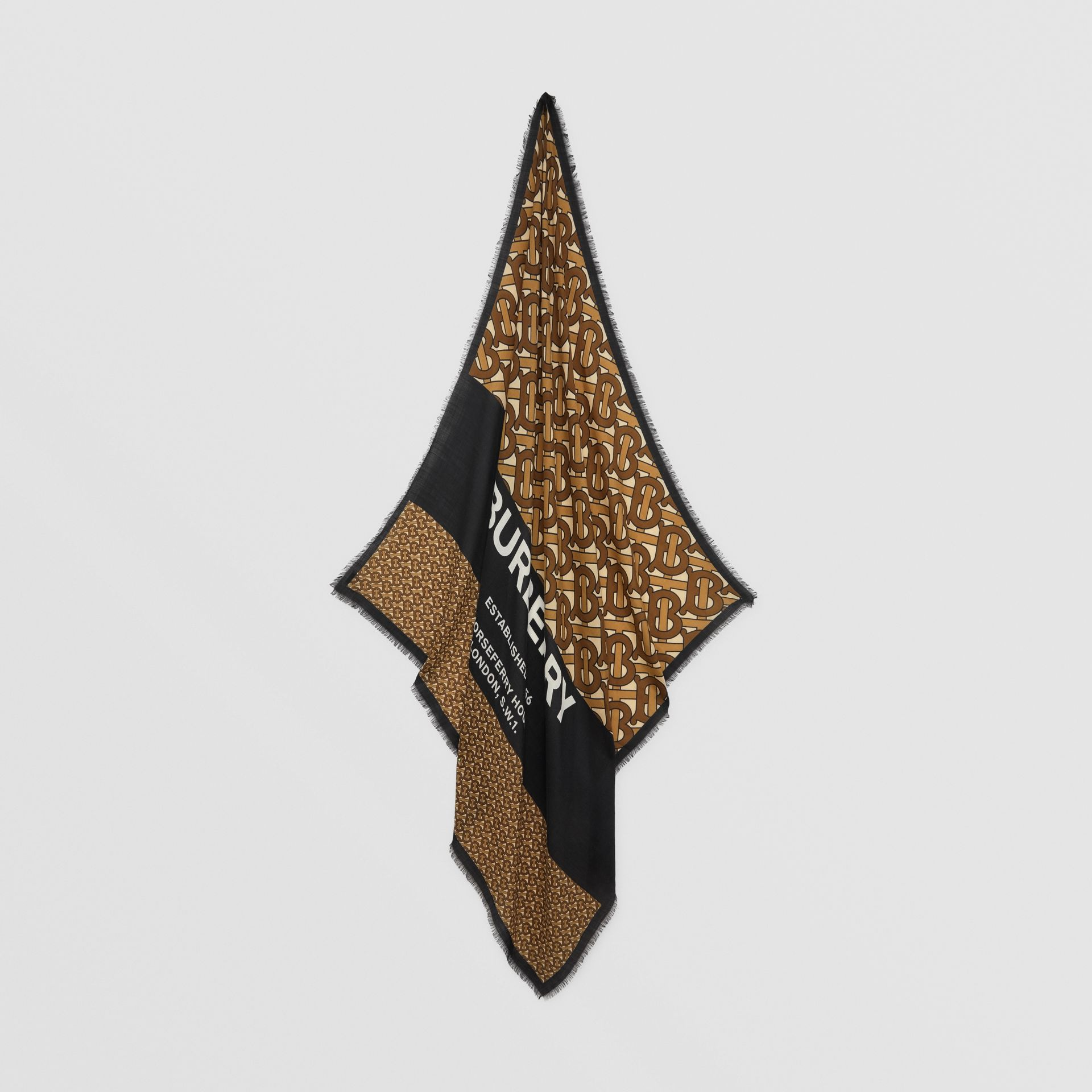 Monogram Print Cashmere Large Square Scarf in Bridle Brown | Burberry United Kingdom - gallery image 3