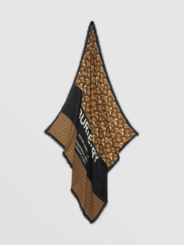 Monogram Print Cashmere Large Square Scarf in Bridle Brown | Burberry United Kingdom - cell image 3