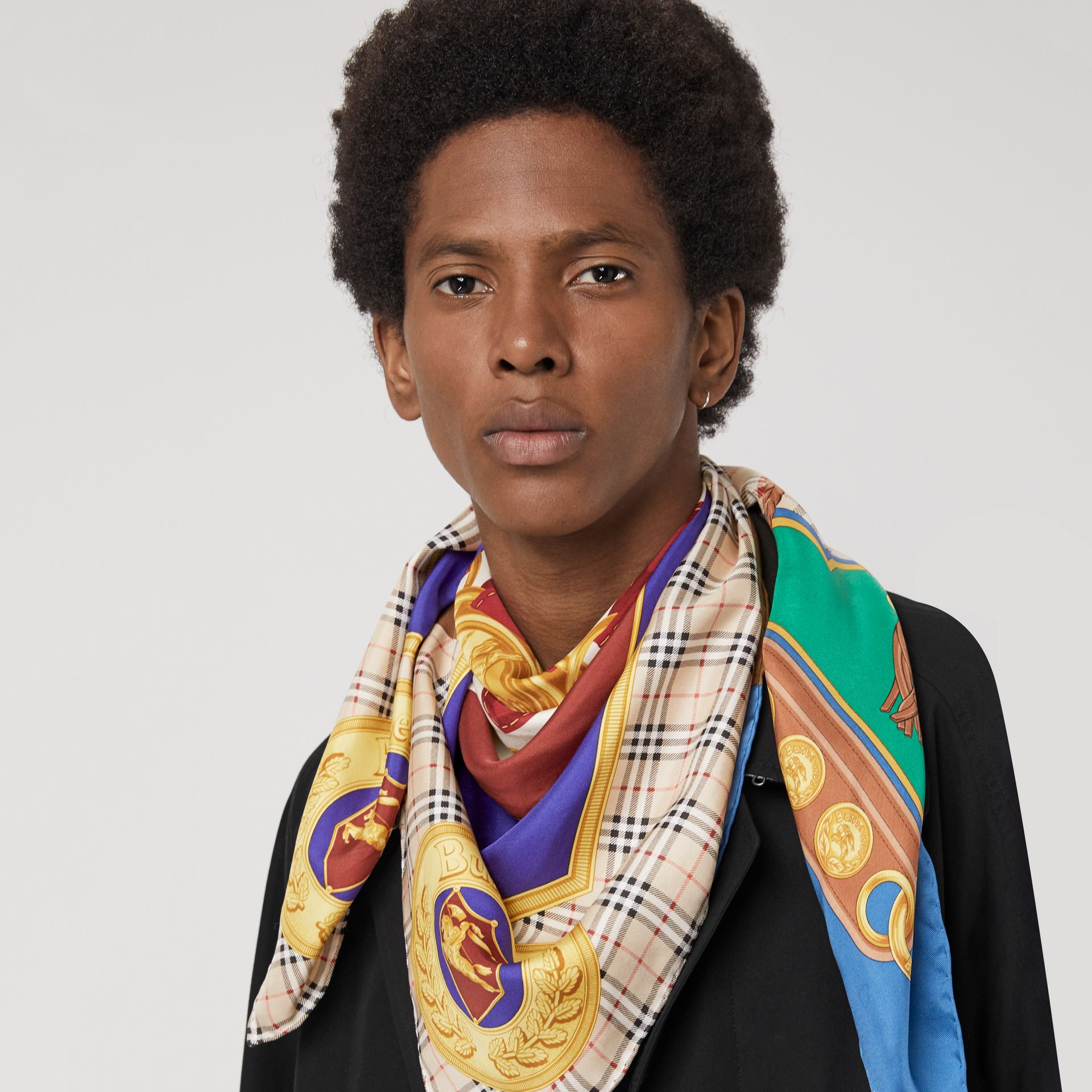 Patchwork Archive Scarf Print Silk Square Scarf in Multicolour - Women | Burberry - gallery image 5