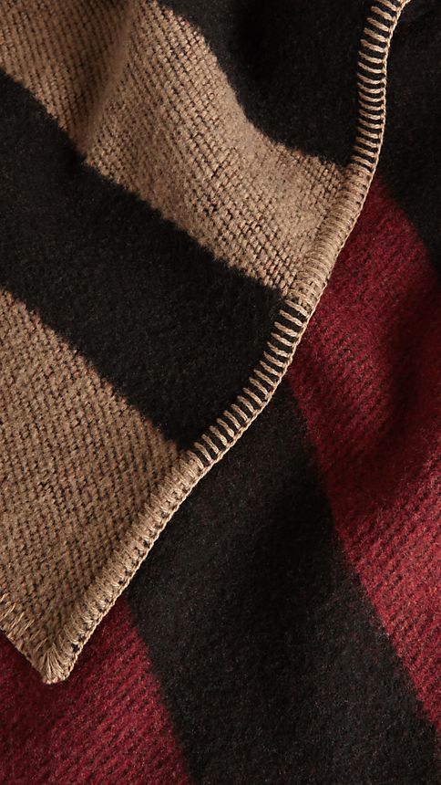 House check/black Check Wool and Cashmere Blanket Poncho - Image 4