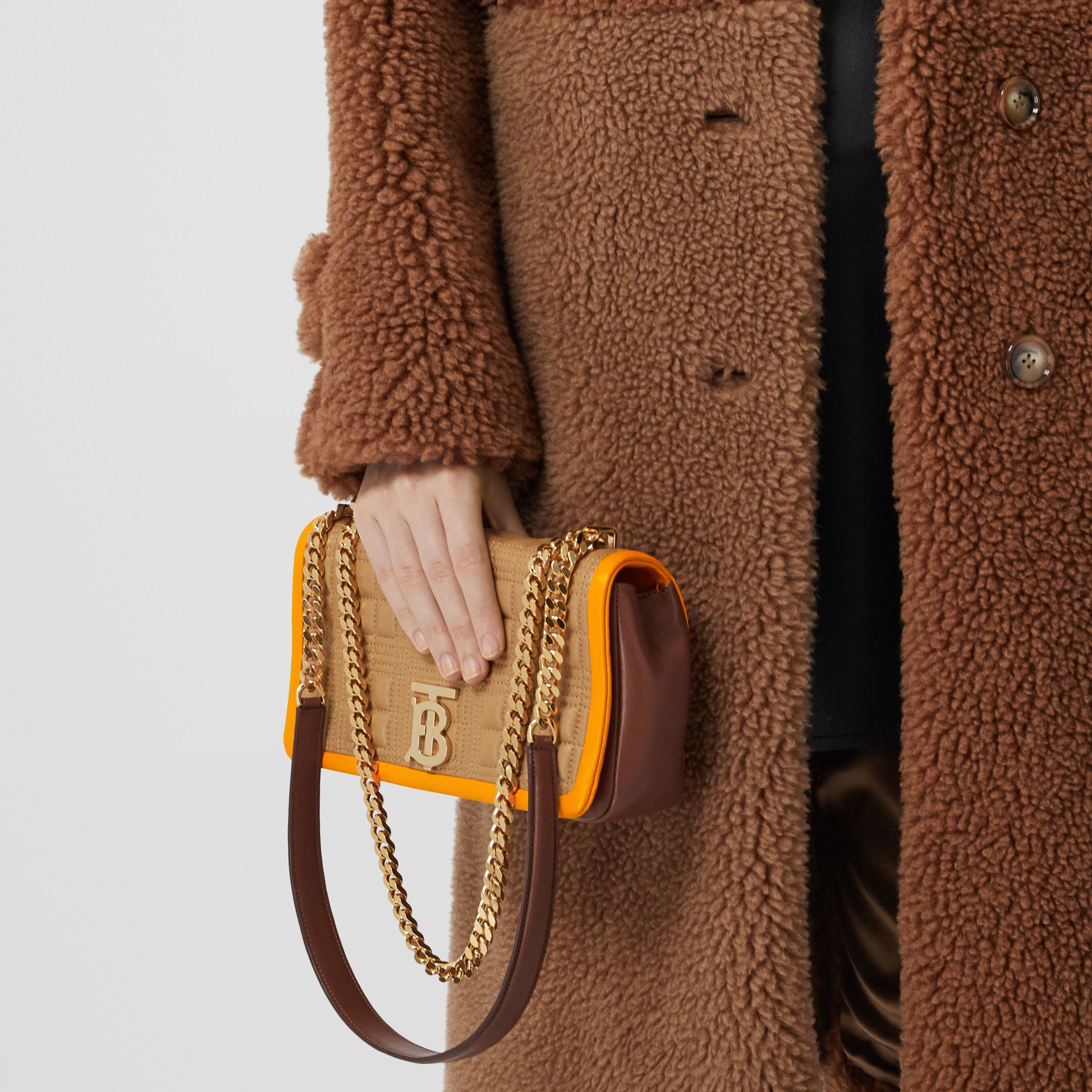 Small Quilted Tri-tone Lambskin Lola Bag in Camel/bright Orange - Women | Burberry - 3