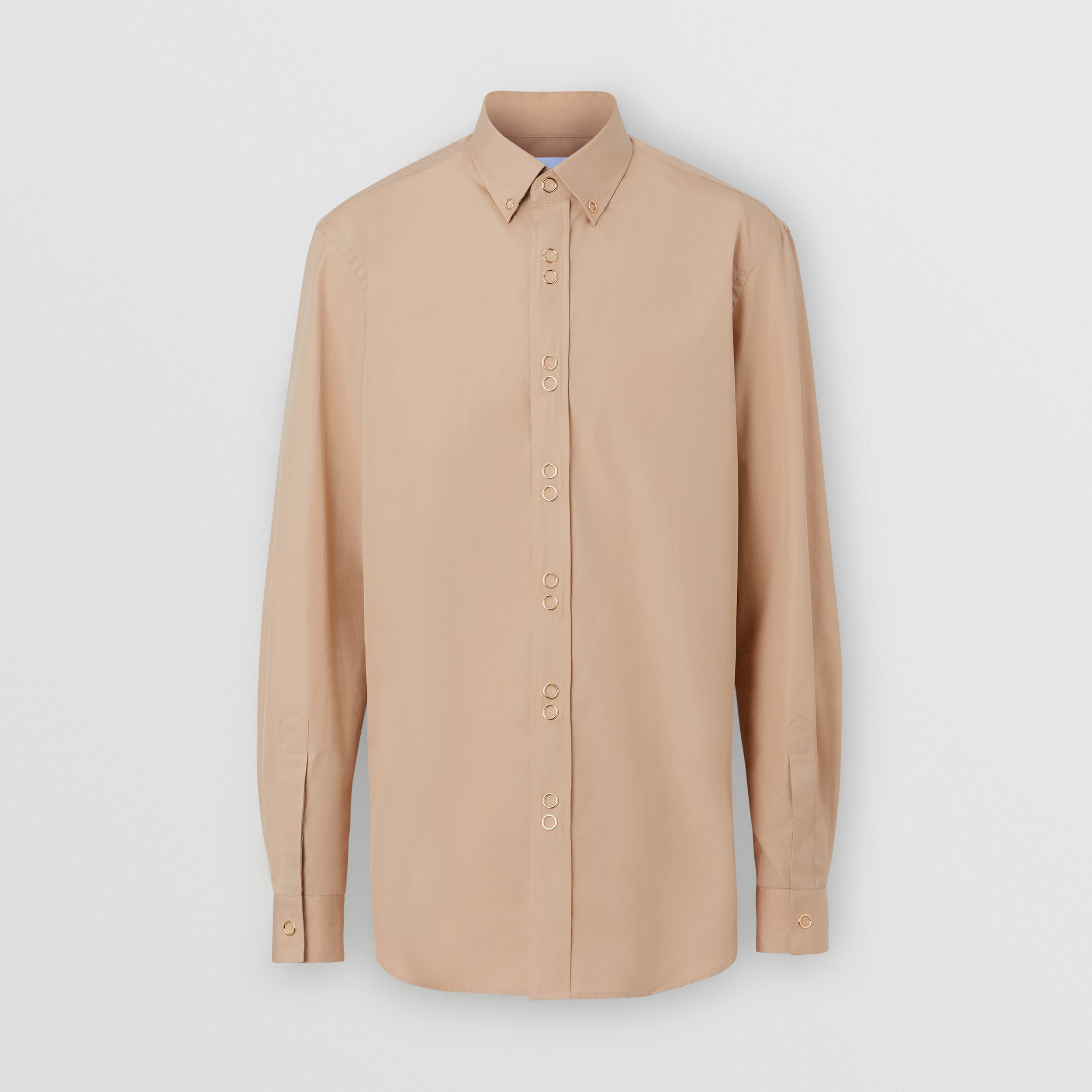 Classic Fit Double Press-stud Cotton Shirt in Soft Fawn - Men | Burberry - 4