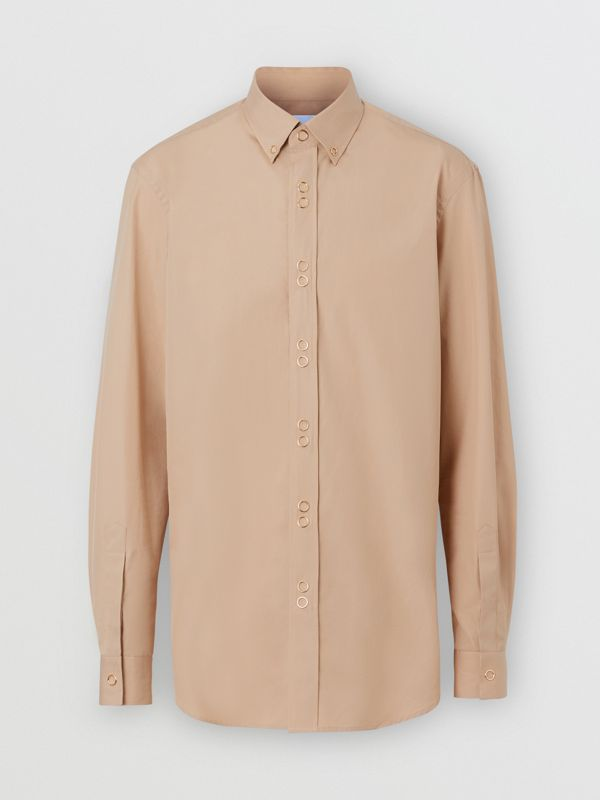 Classic Fit Double Press-stud Cotton Shirt in Soft Fawn - Men | Burberry - cell image 3