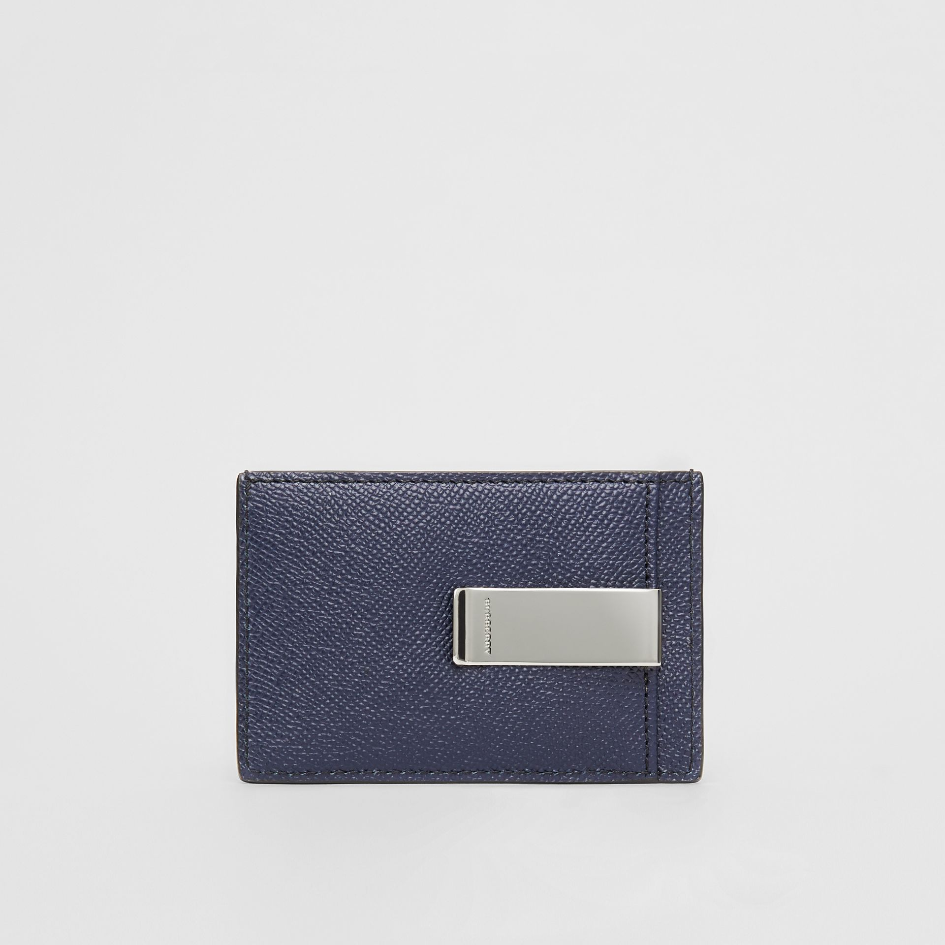 Grainy Leather Money Clip Card Case in Regency Blue - Men | Burberry - gallery image 4
