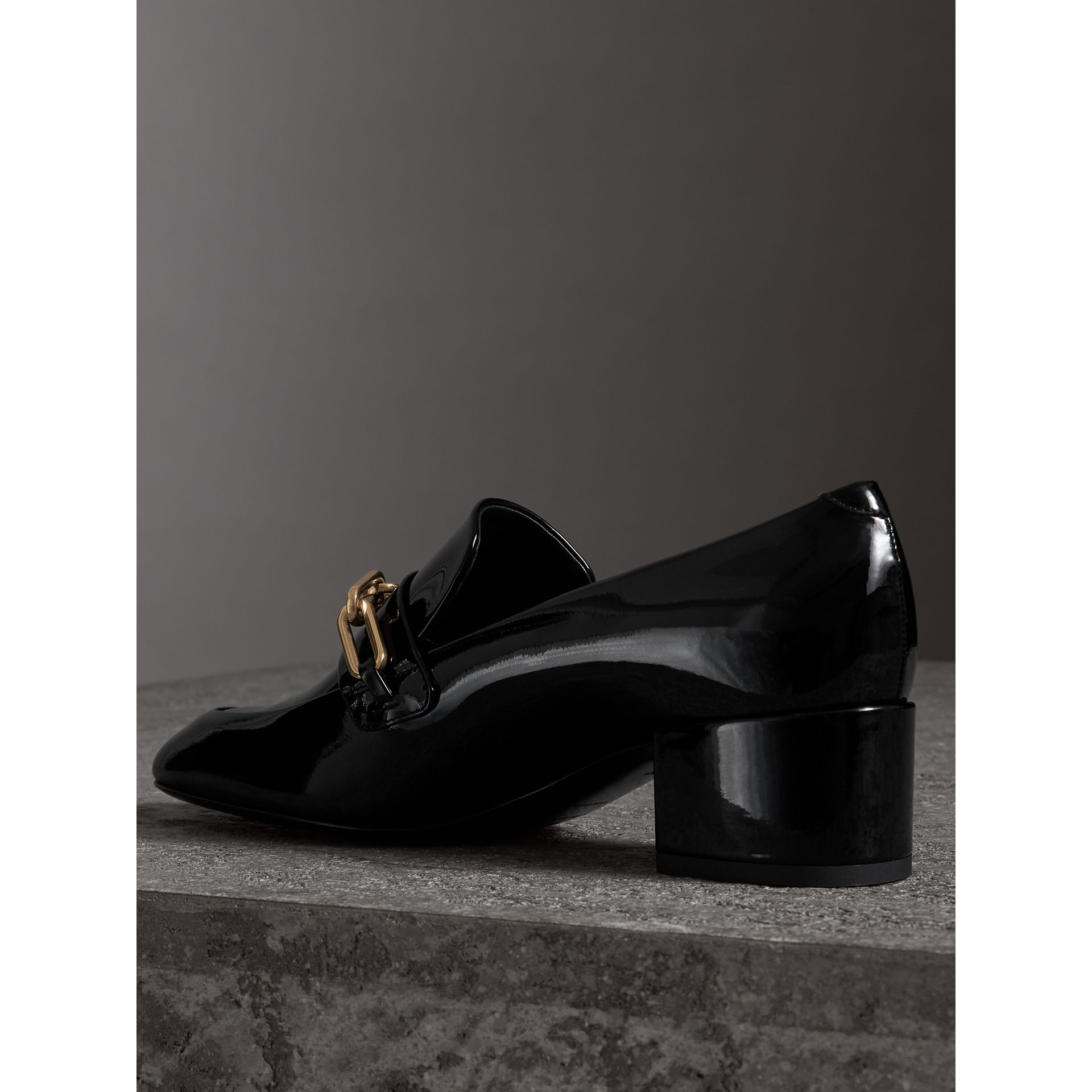 Link Detail Patent Leather Block-heel Loafers in Black - Women | Burberry - gallery image 3