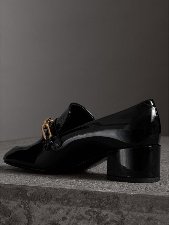 Link Detail Patent Leather Block-heel Loafers in Black - Women | Burberry United Kingdom - cell image 3