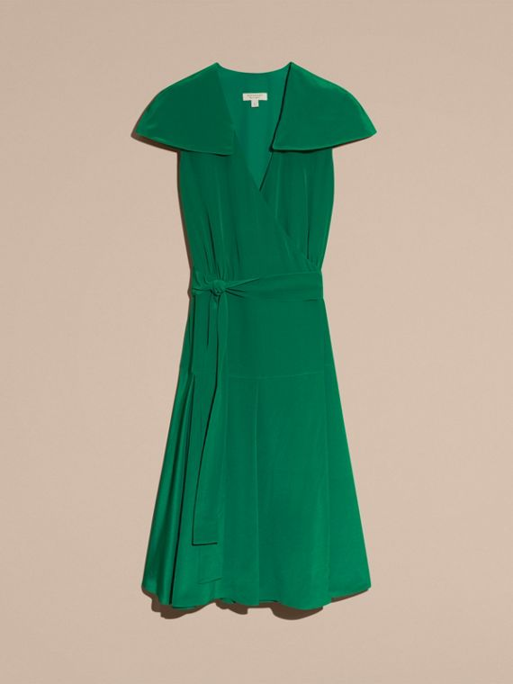 Kelly green Cape Detail Silk Wrap Dress Kelly Green - cell image 3