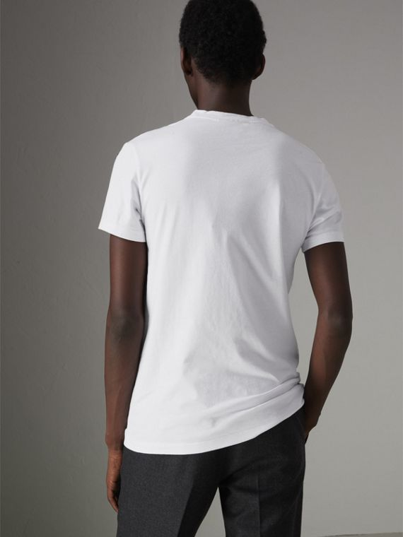 Graffiti Print Cotton T-shirt in White - Men | Burberry Hong Kong - cell image 2