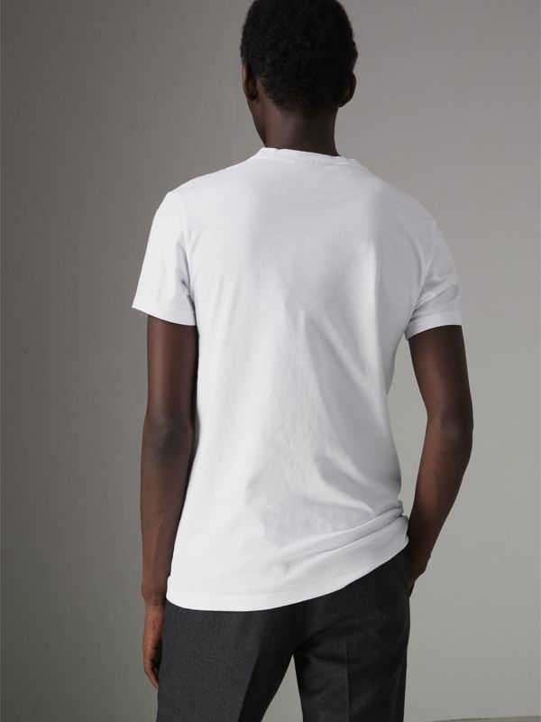 Graffiti Print Cotton T-shirt in White - Men | Burberry Canada - cell image 2