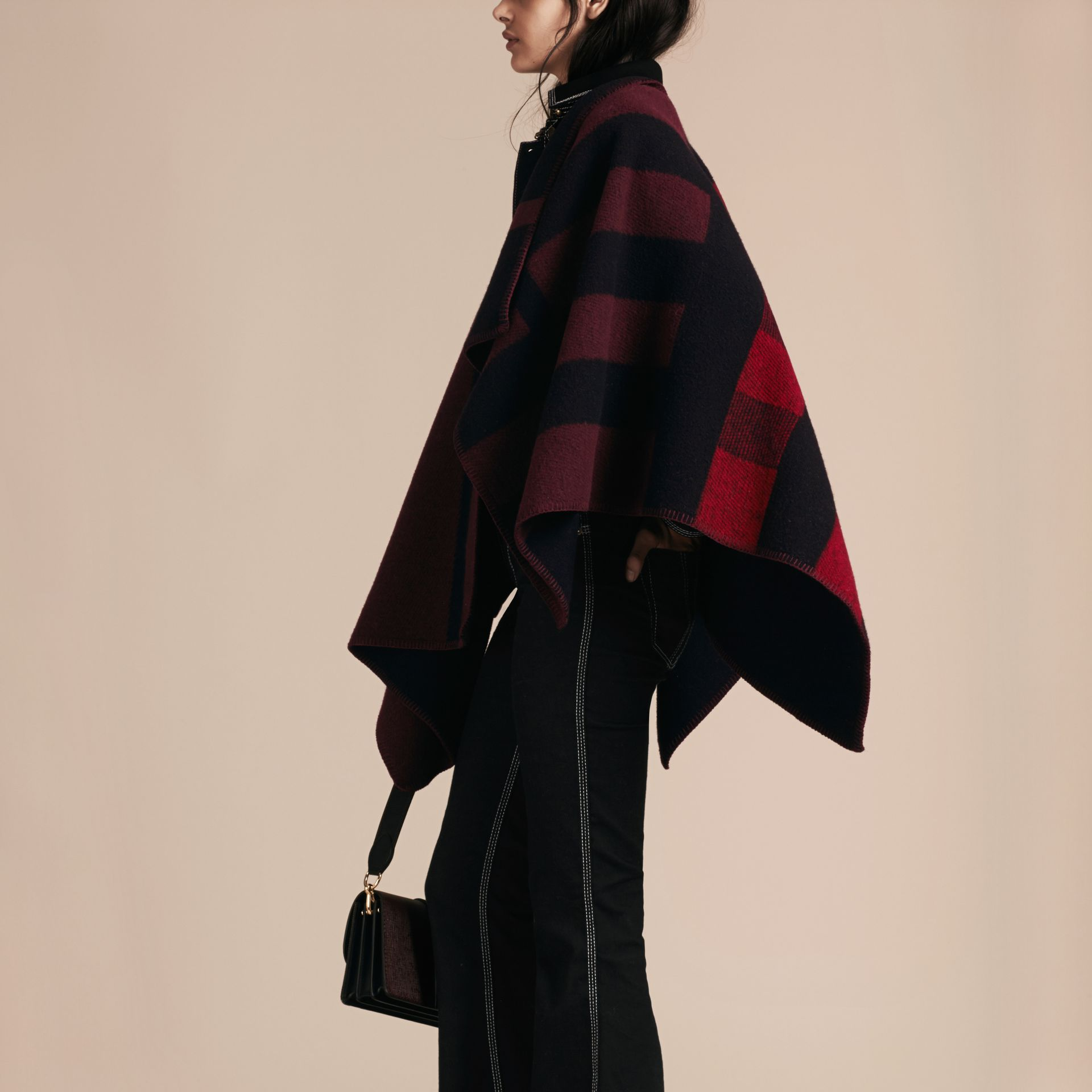 Oxblood Check Wool and Cashmere Blanket Poncho Oxblood - gallery image 2