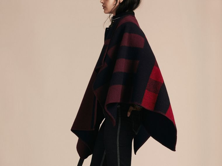 Oxblood Check Wool and Cashmere Blanket Poncho Oxblood - cell image 1