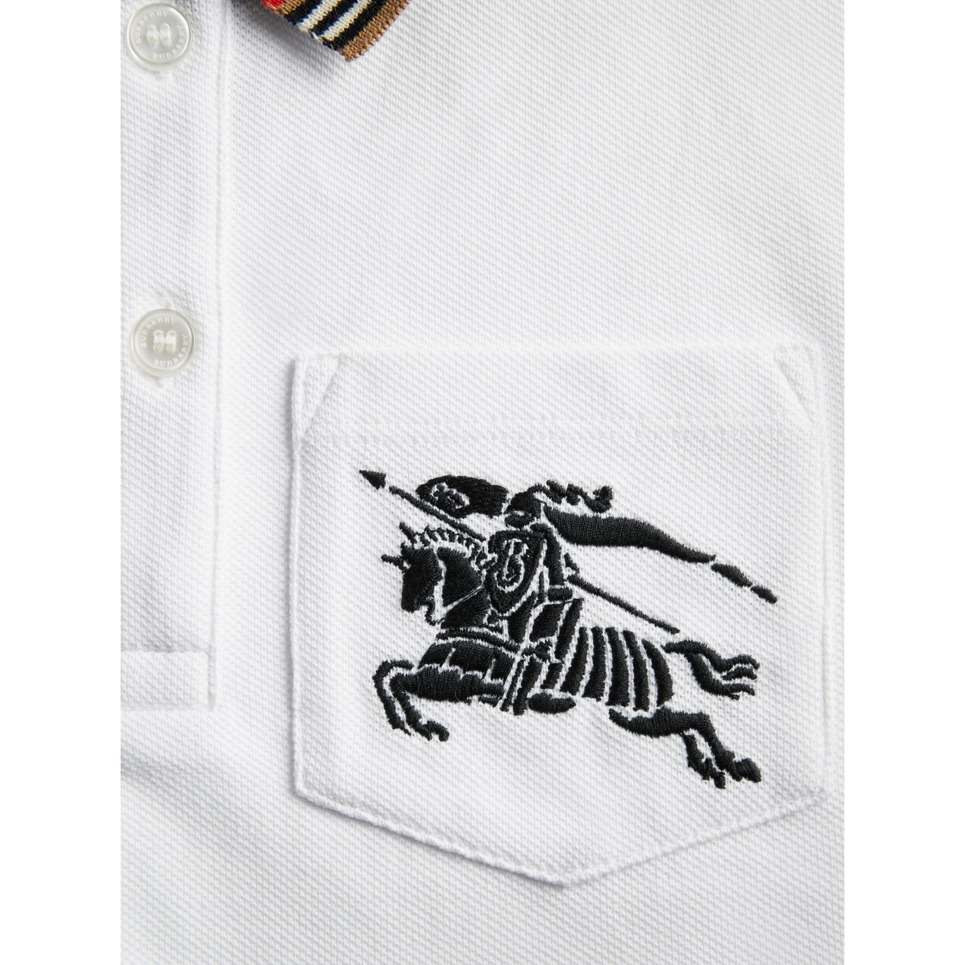 Heritage Stripe Detail Cotton Polo Shirt in White | Burberry Australia - gallery image 1