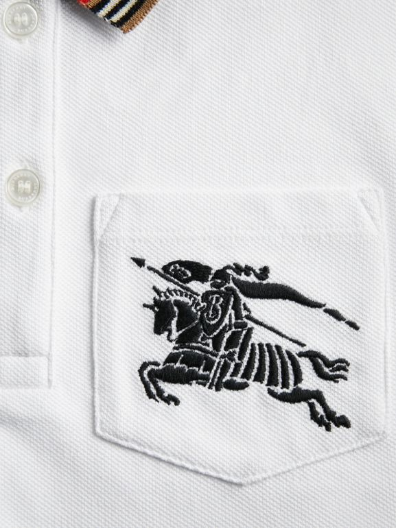 Icon Stripe Detail Cotton Polo Shirt in White | Burberry - cell image 1