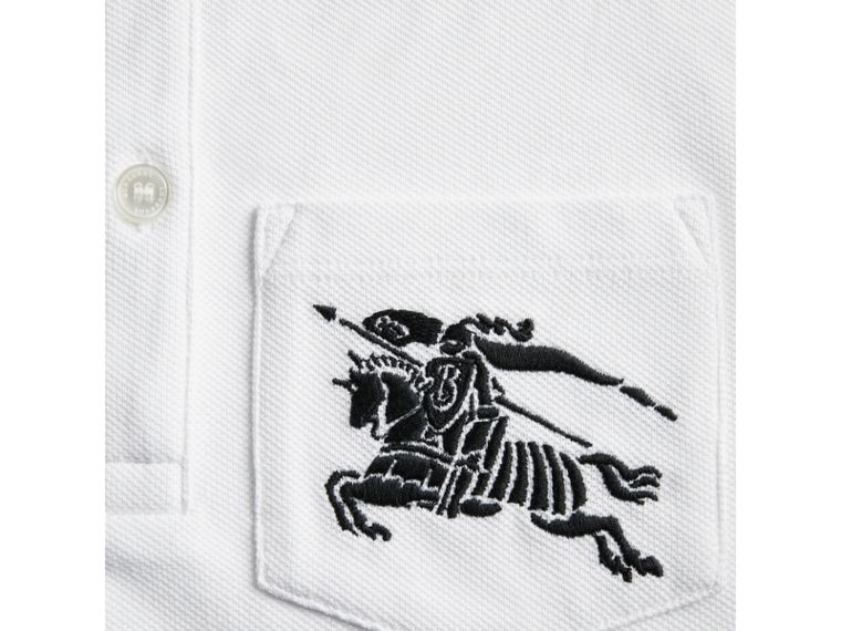 Heritage Stripe Detail Cotton Polo Shirt in White - Boy | Burberry - cell image 1