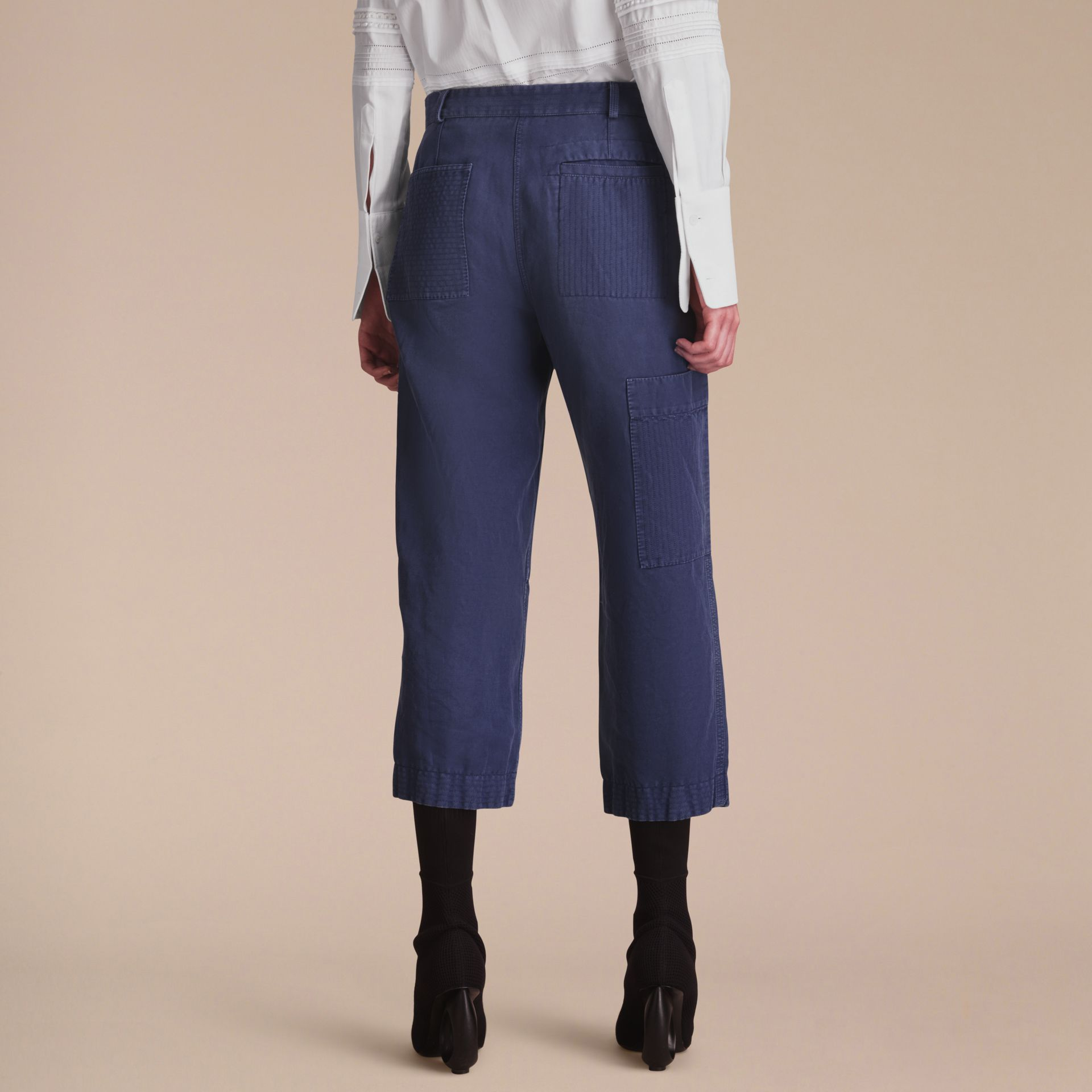 Ramie Cotton Cropped Workwear Trousers in Indigo - Women | Burberry - gallery image 3