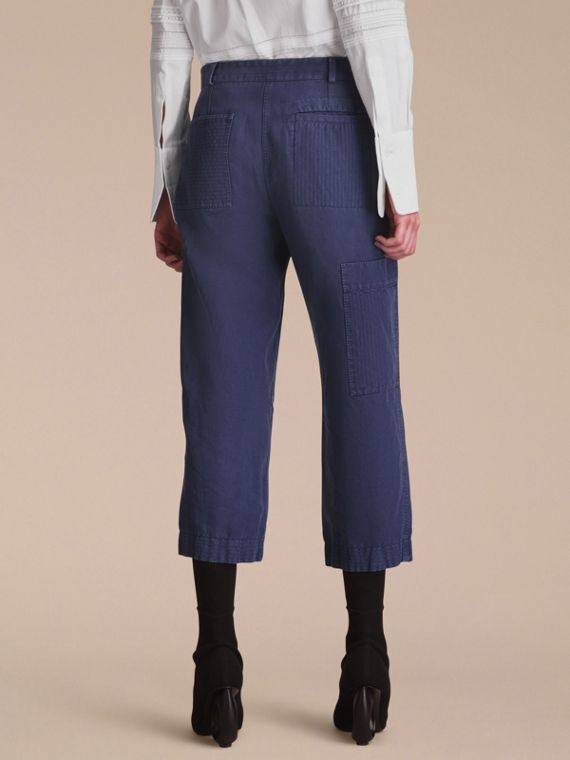 Ramie Cotton Cropped Workwear Trousers in Indigo - Women | Burberry - cell image 2