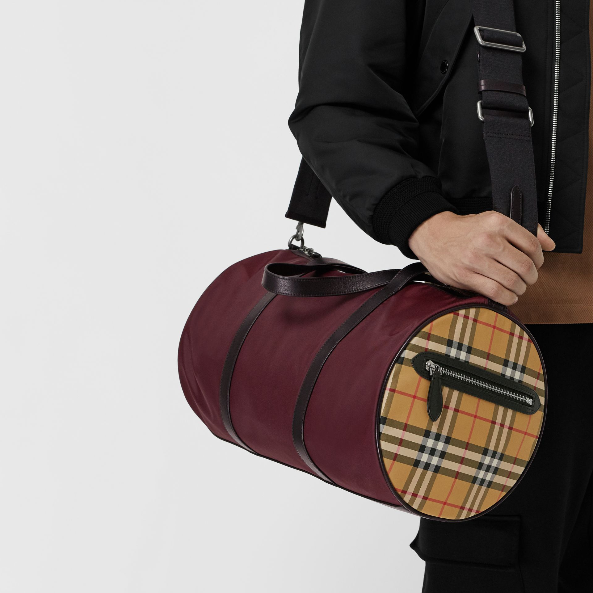 Medium Nylon and Vintage Check Barrel Bag in Oxblood - Men | Burberry - gallery image 5