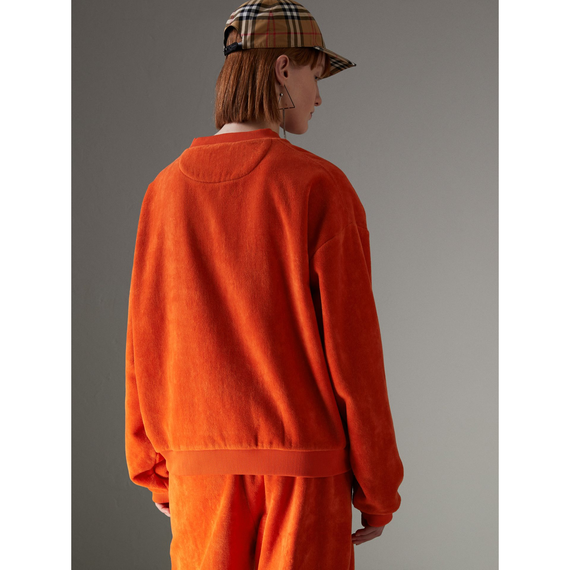 Archive Logo Towelling Sweatshirt in Tangerine - Women | Burberry Australia - gallery image 2