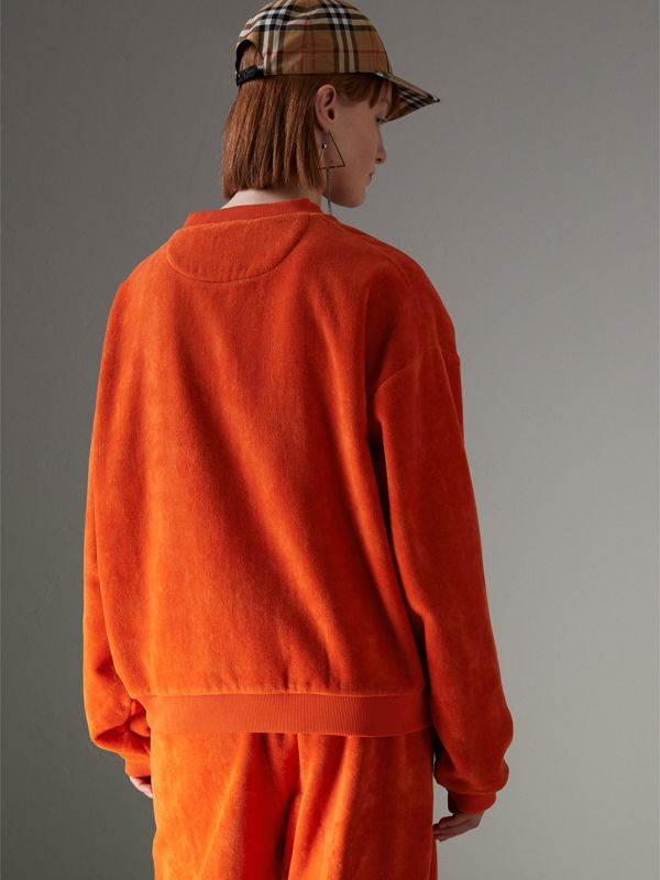 Archive Logo Towelling Sweatshirt in Tangerine - Women | Burberry United Kingdom - cell image 2