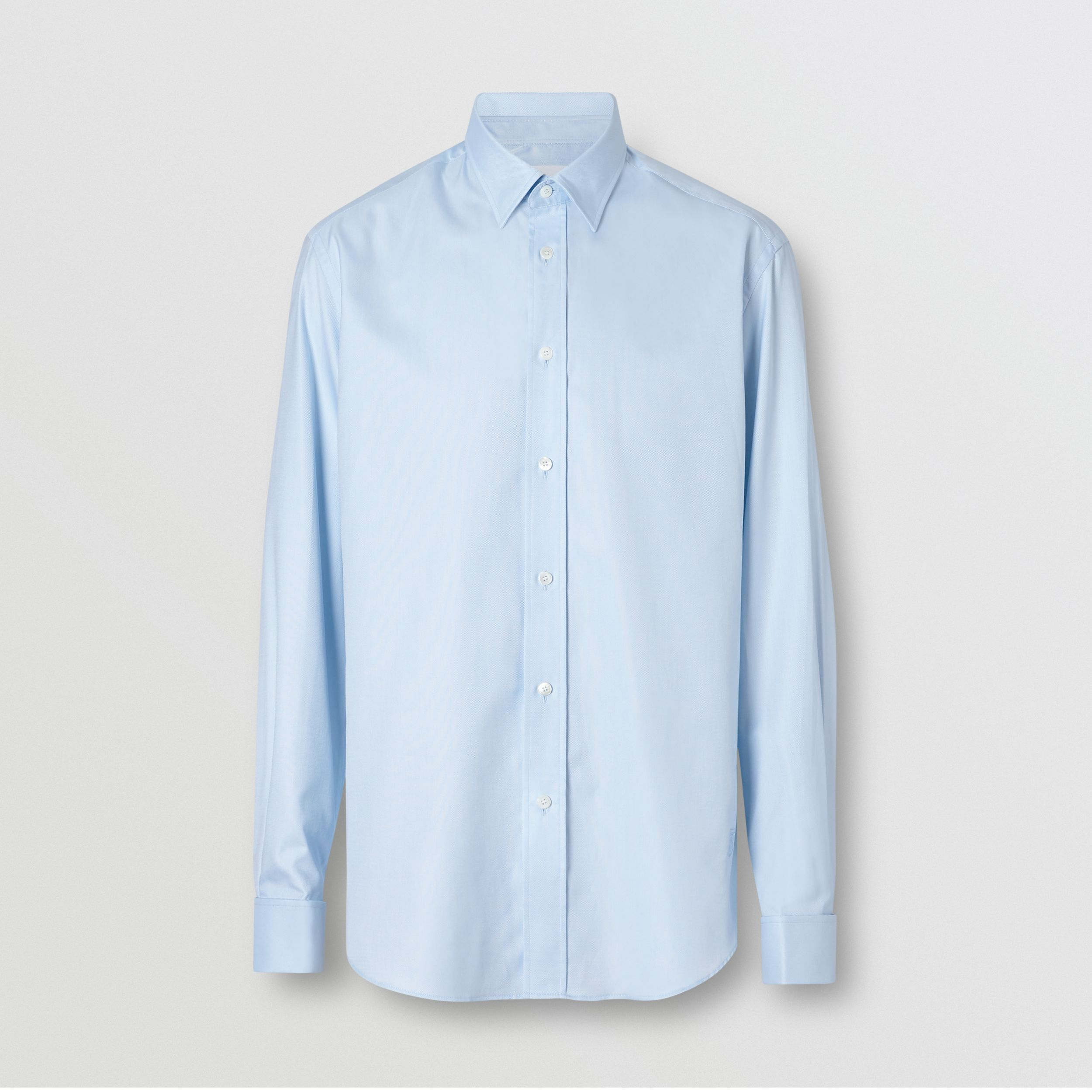 Classic Fit Monogram Motif Cotton Oxford Shirt in Pale Blue - Men | Burberry - 4