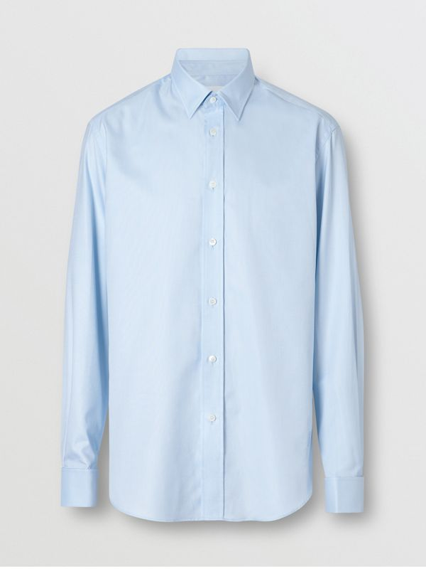 Classic Fit Monogram Motif Cotton Oxford Shirt in Pale Blue - Men | Burberry - cell image 3