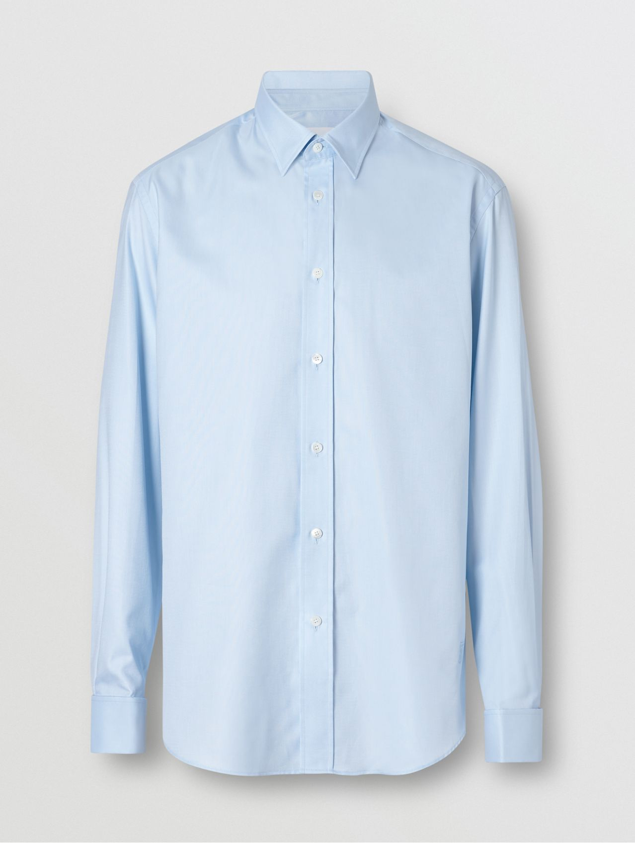 Classic Fit Monogram Motif Cotton Oxford Shirt in Pale Blue