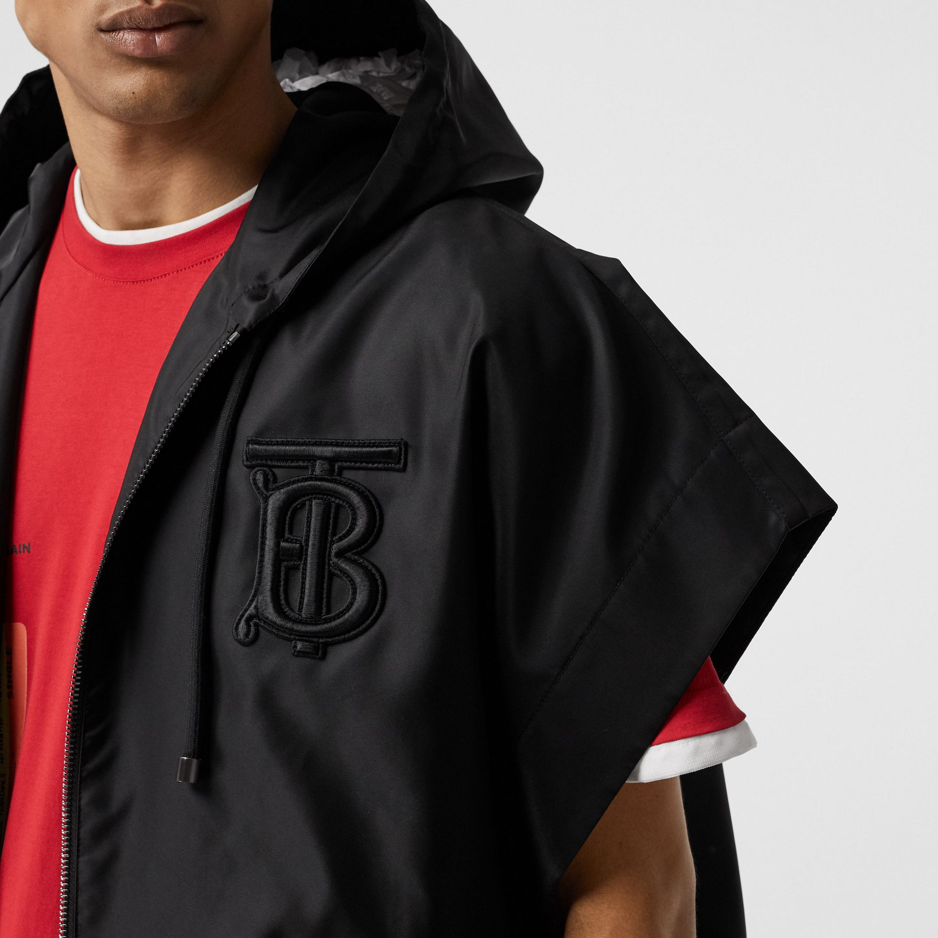 Monogram Motif Nylon Oversized Hooded Poncho in Black | Burberry - gallery image 3
