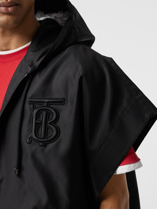 Monogram Motif Nylon Oversized Hooded Poncho in Black | Burberry - cell image 3
