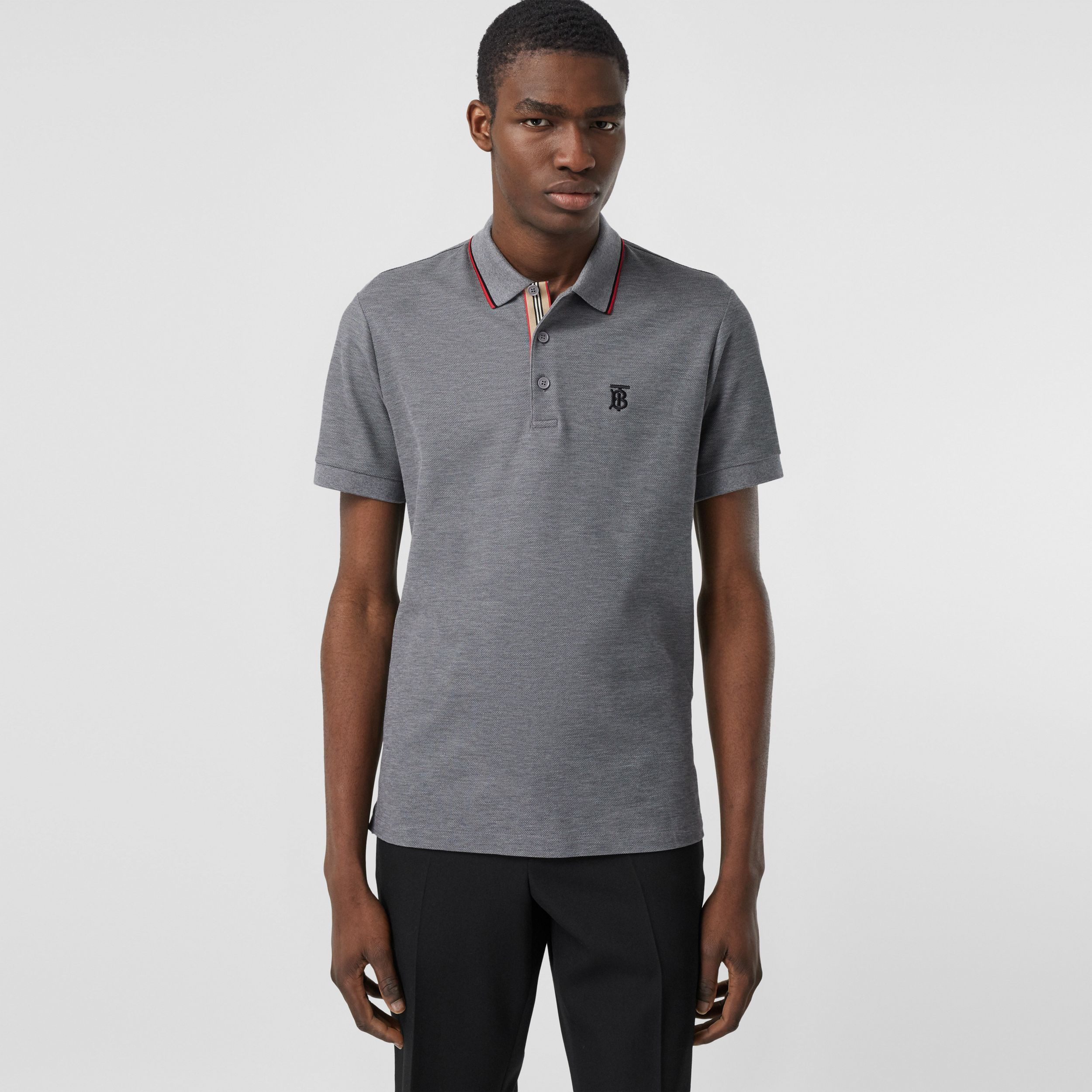 Monogram Motif Cotton Piqué Polo Shirt in Mid Grey Melange - Men | Burberry - 1