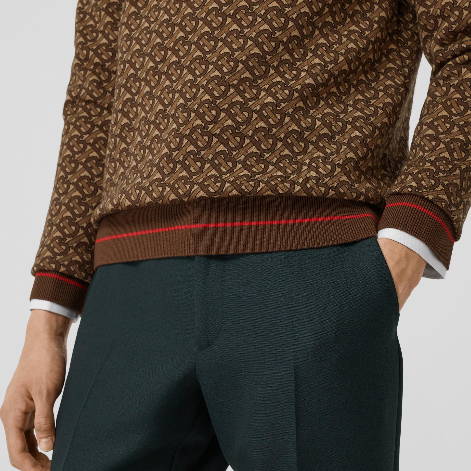 Pull en jacquard de laine mérinos Monogram (Brun Bride) - Homme | Burberry Canada - photo de la galerie 1