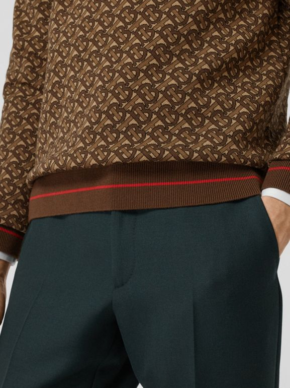 Monogram Merino Wool Jacquard Sweater in Bridle Brown - Men | Burberry United Kingdom - cell image 1