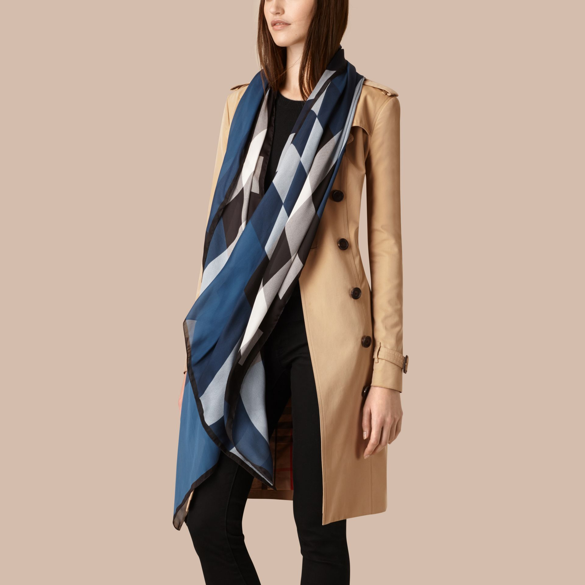 Lightweight Check Silk Scarf Cadet Blue - gallery image 2